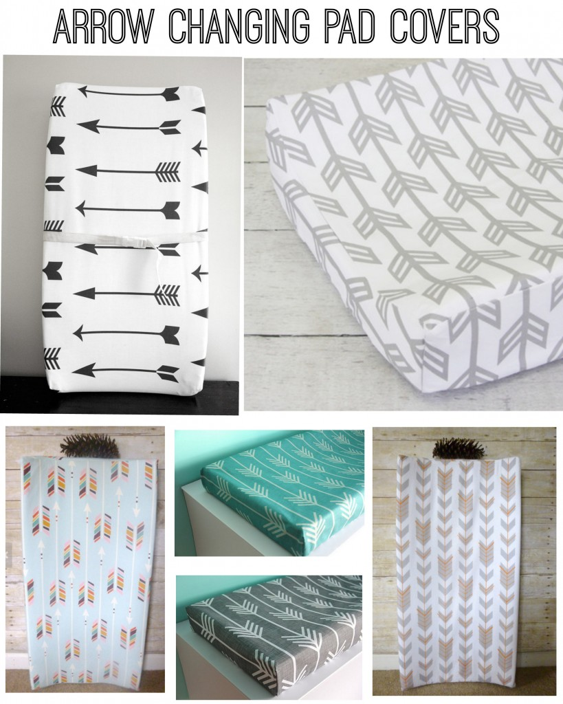 Arrow themed changing pad covers for a rustic baby nursery