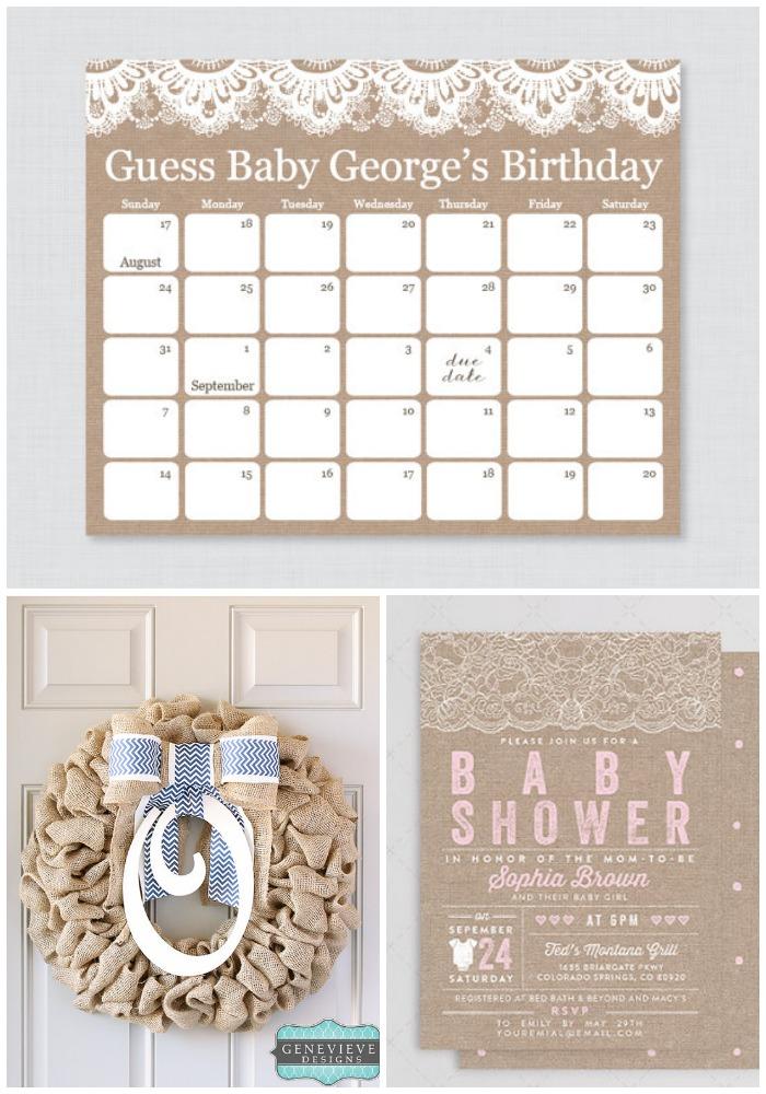 Birthday guess calendar burlap wreath shower invitation