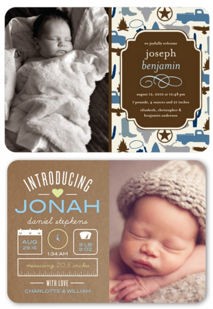 rustic baby boy birth announcements
