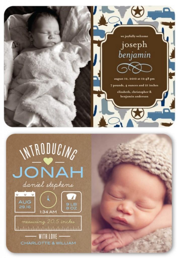 Rustic Baby Boy Birth Announcements