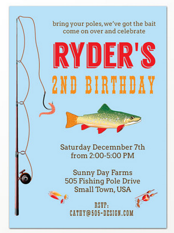 Fishing boys birthday party rustic baby chic for Fishing birthday party invitations