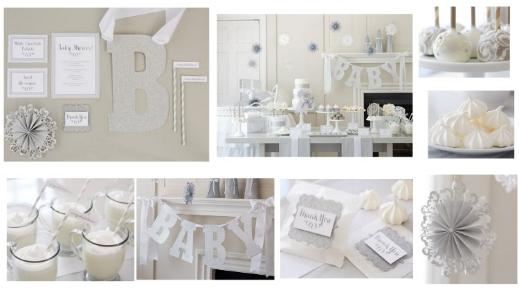 winter white baby shower rustic baby chic