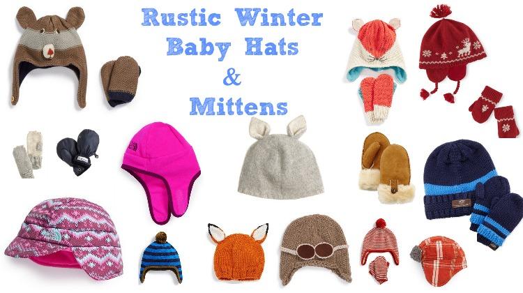 Rustic Winter Baby Hats & Mittens