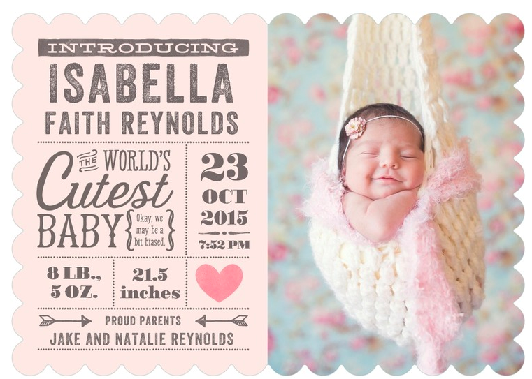 rustic baby girl birth announcements