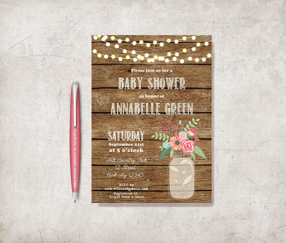 Mason jar baby shower rustic baby chic mason jar baby shower invitation filmwisefo