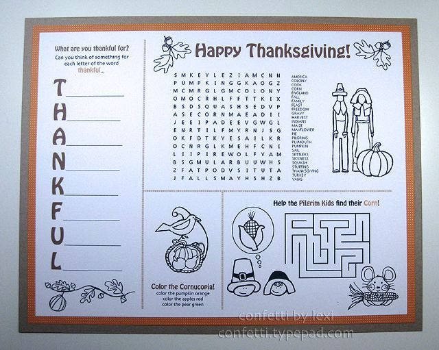 The Best Kids Thanksgiving Placemats Rustic Baby Chic
