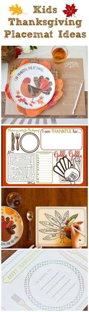 Kids Thanksgiving Placemat Ideas