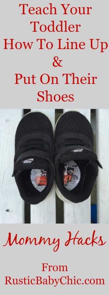 See the trick that will teach your toddler how to line up their shoes and get them on their feet right every time. See more mommy hacks too!